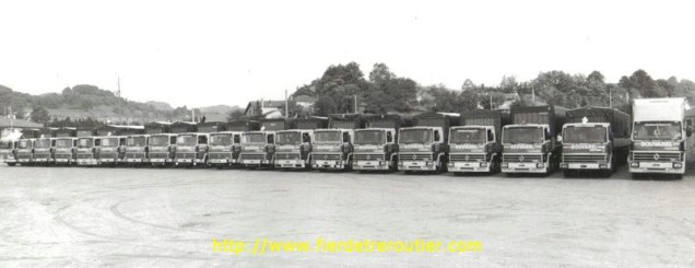 Le parc des camions au grand complet dans les années 80