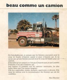 Recueil de photos de camions américains, par Laurette Francfort, et préfacé par Max. Publié en 1979.