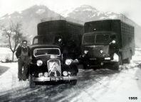 Francis CHEVRIER avec sa flotte Traction, Berliet GLC, Renault fainéant