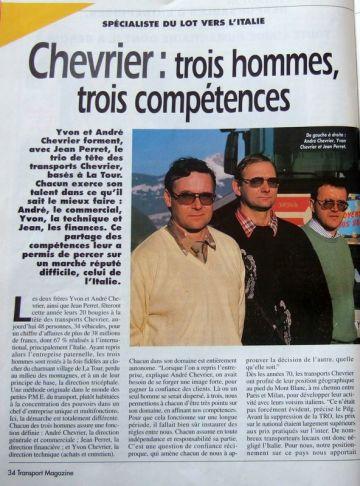 AVRIL 95 Transports Magazine s'intéresse à CHEVRIER