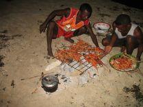 soirée langouste préparée par les pecheurs du coin