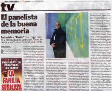 El Panelista de la Buena Memoria - Clarin 4/10/09