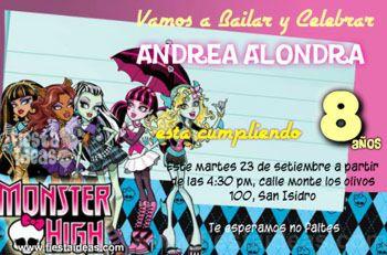 Invitaciones Monster High con 5 personajes favoritos