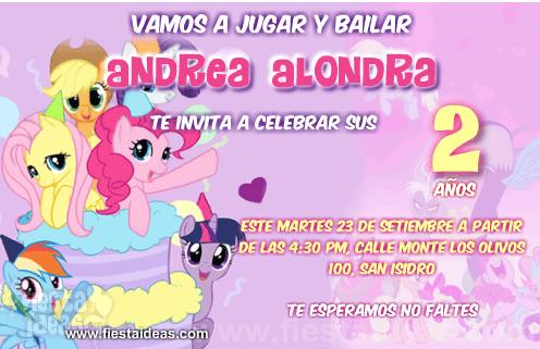 Invitaciones My Little Pony La magia de la amistad juntas en un pastel