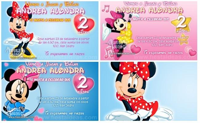 Invitaciones De Minnie Mouse Personalizadas Para Imprimir Gratis