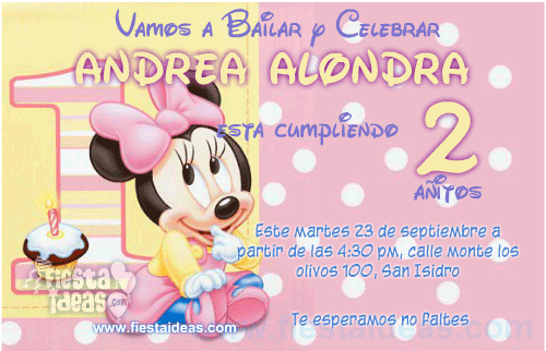 Invitación Baby Minnie Disney