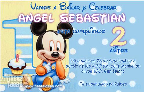 invitación Baby Mickey Mouse Disney