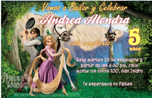Invitacion de Rapunzel Flynn Rider y Max