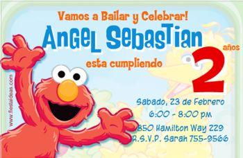 invitaciones de Elmo Plaza Sesamo