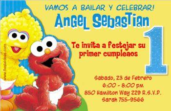 invitaciones de Elmo big bird Plaza Sesamo para imprimir