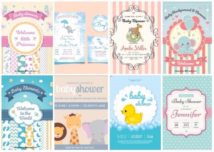 Nuevos hermosos diseños de tarjetas baby shower fácil de descargar e imprimir