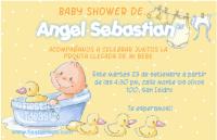 Invitacion baby shower de bebe en la tina con patitos