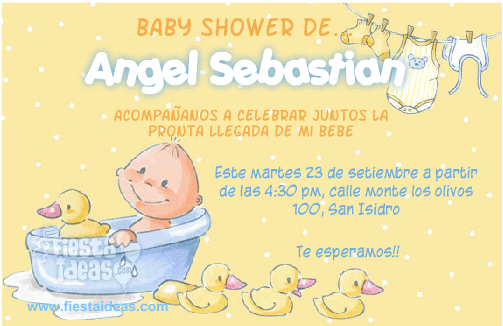 Invitacion baby shower de bebe en la tina con patitos