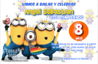 Invitaciones de mi Villano Favorito 2 Los Minions celebrando una fiesta