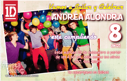 Invitaciones de One Direction fiesta
