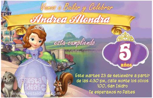 Invitaciones Princesa Sofía gratis para imprimir: para editar en linea