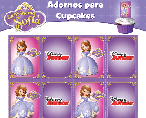 Princesa Sofía Kit Imprimible gratis pack_cupcakes