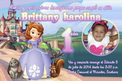 Invitaciones Princesa Sofía personalizada con foto