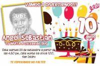 Invitaciones de pastel y globos con foto para imprimir