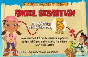 Invitaciones De Cumpleaños De Izzy De Jake Y Los Piratas De