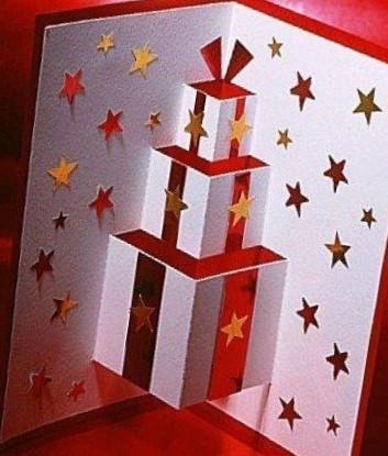 tarjetas 3D para navidad diseño de cajas y estrellas