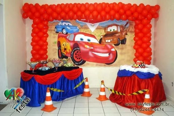 Decoración fiesta cars rayo mcqueen