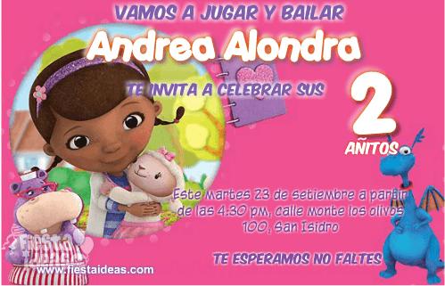 ec7069ecb Doctora Juguetes lindas invitaciones de cumpleaños