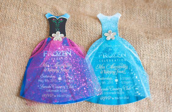 invitacion de frozen con vestidos