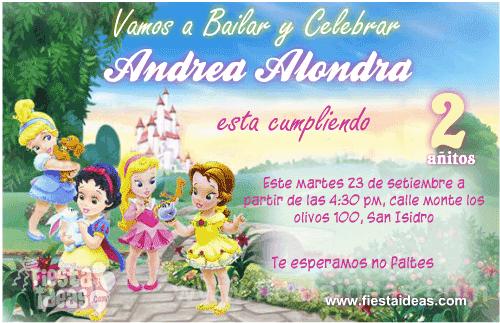 Invitaciones Princesas Disney Con Foto