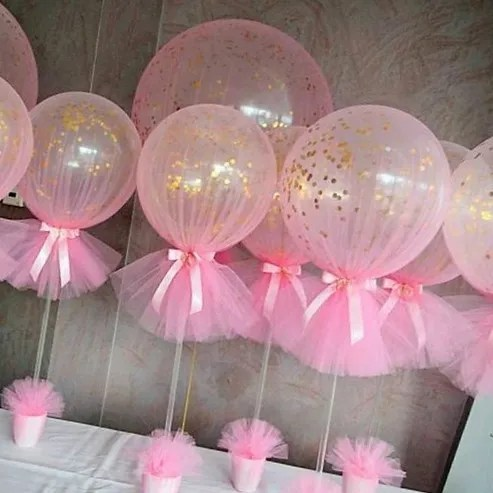 centros de mesa con globos de princesa sofia rosado