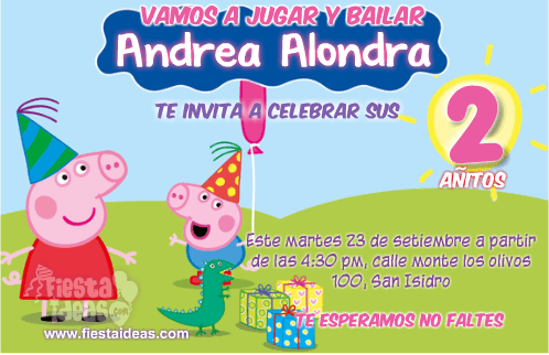 invitaciones de Peppa Cerdita celebrando su cumpleaños con George
