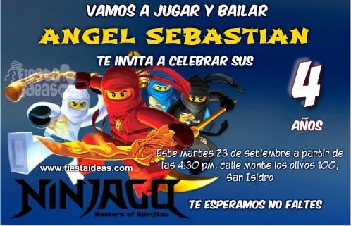 Lego Ninjago Maestros Del Spinjitzu Invitaciones Edita Y