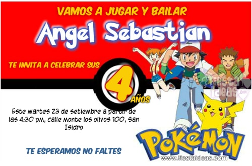 Invitacion pokemon con fondo pokebola