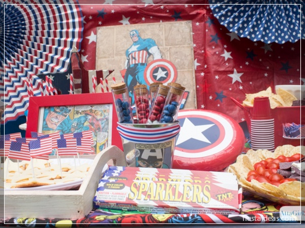 Fiesta del capitán america con originales decoraciones