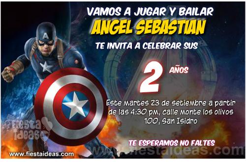 Capitán américa invitaciones de cumpleaños