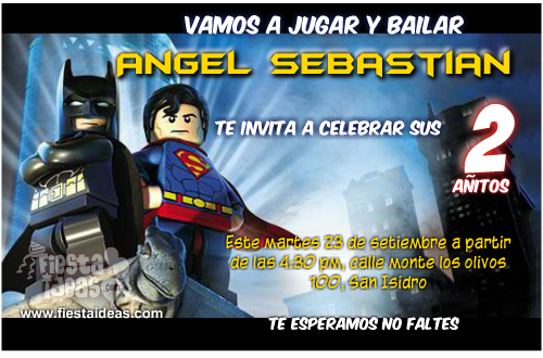 invitaciones de batman vs superman lego