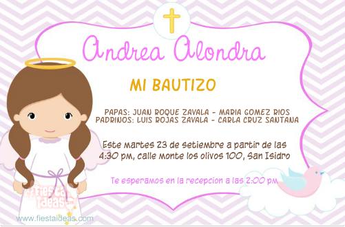 invitaciones de bautizo para nia rosada