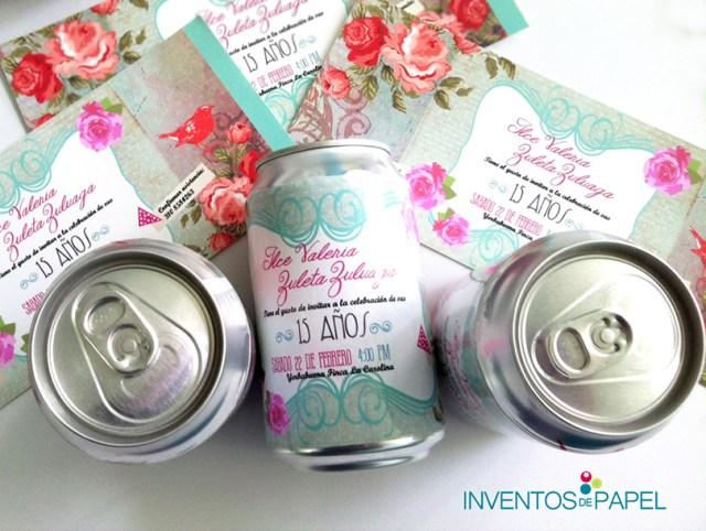 invitaciones de 15 con latas de gaseosas