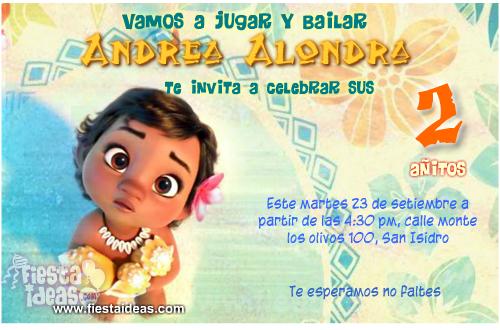 Invitaciones de Moana Bebe