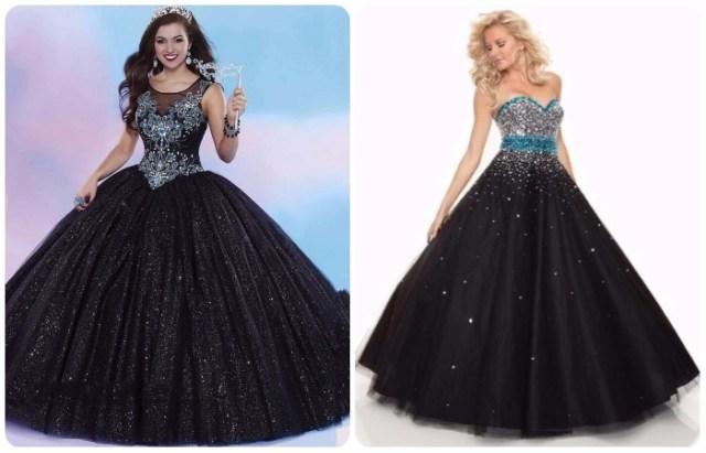 Ddiseño de vestidos de 15 años color negro con encajes