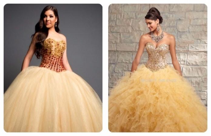 vestidos de 15 años dorados desmontables