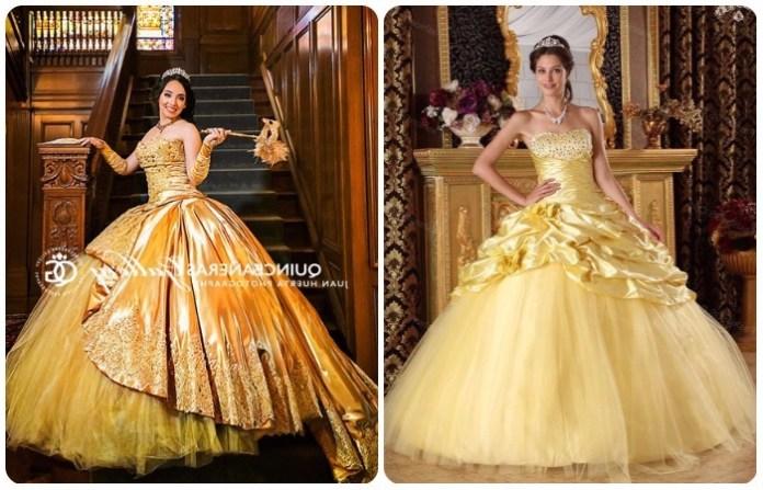 modernos vestidos de 15 años dorados