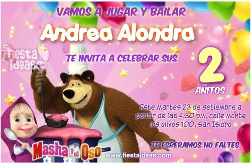 invitaciones de cumlpeaños de masha y el oso para imprimir