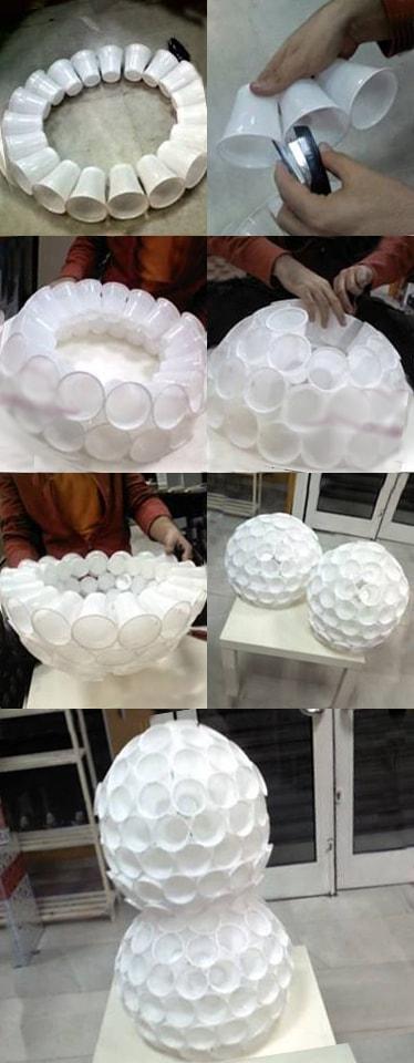 como hacer un muñeco de nieve con vasos de plastico paso a paso