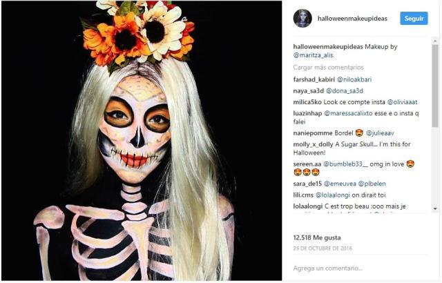 maquillaje de halloween de calaveras jamas pasan de moda