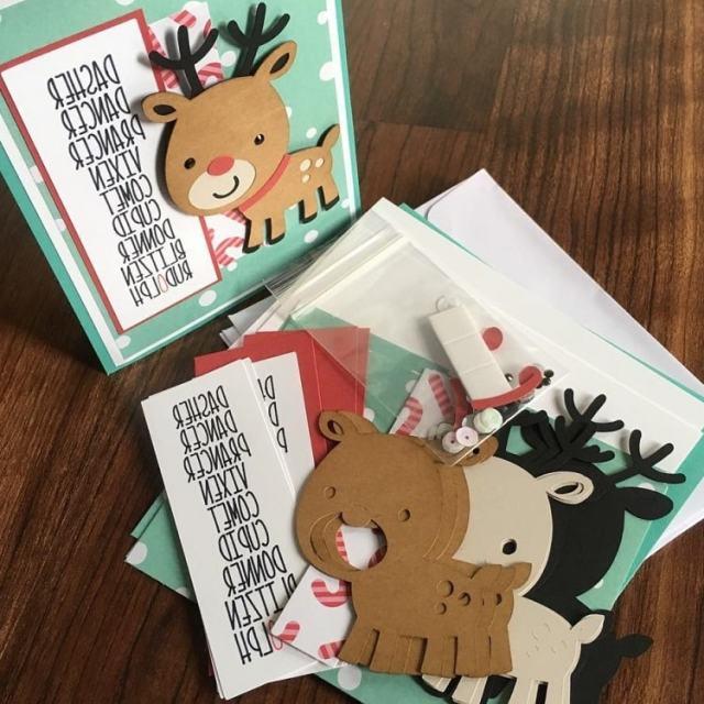 Original tarjeta navideña con renos