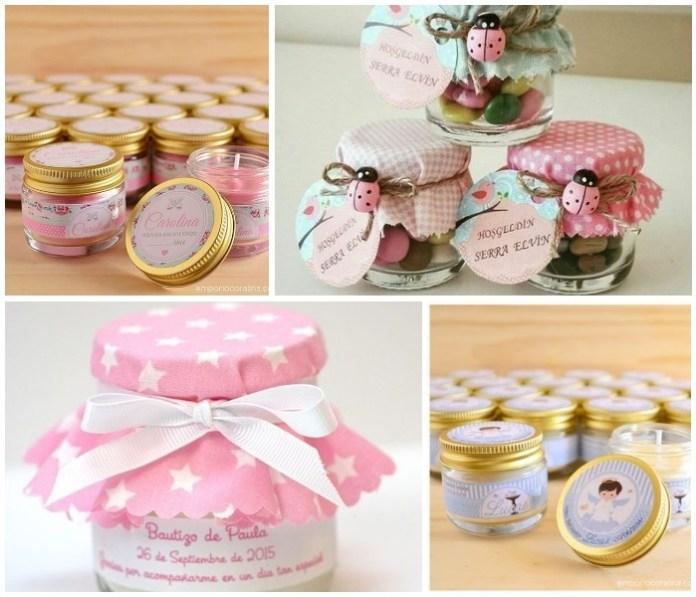 recuerdos para bautizo con frascos de Gerber rosas
