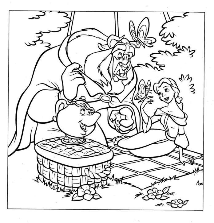 Dibujos para Colorear de Princesas la Bella y la bestia