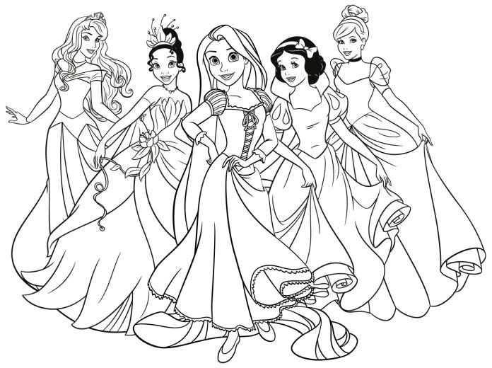 Dibujos para Colorear de Princesas todas