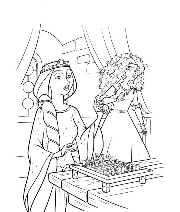 Dibujos para Colorear de Princesas Merida valiente